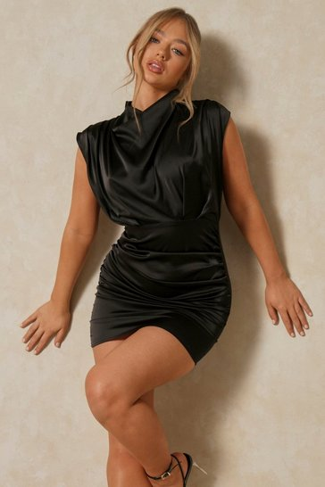 Black High Neck Cowl Satin Ruched Dress