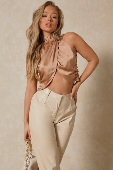 Camel High Neck Satin Wrap Top