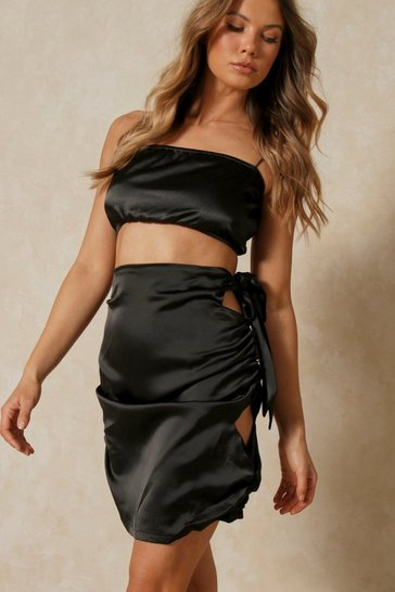 Black Tia Cut Out Detail Mini Skirt