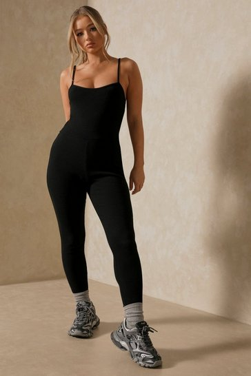 Black Ribbed Hook and Eye Bralet Jumpsuit