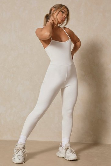 Cream Ribbed Hook and Eye Bralet Jumpsuit