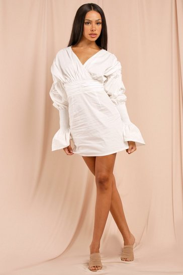White Extreme Puff Sleeve Wrap Front Mini Dress