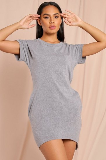 Grey Cap Sleeve T-Shirt Dress