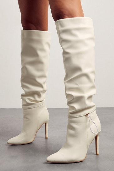 White Leather Look Knee High Pointed Heeled Boot