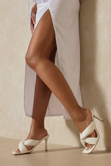 White Twist Front Detail Heeled Mules