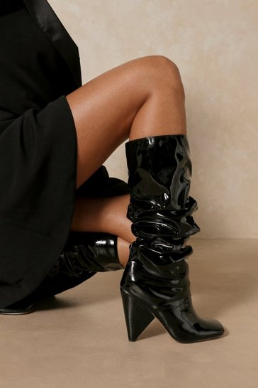 Black Ruched Leather Look Square Toe Heeled Boot