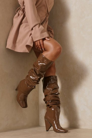 Brown Ruched Leather Look Square Toe Heeled Boot