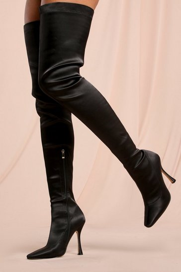 Black Satin Over The Knee Heeled Boot