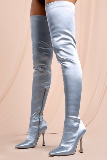 Blue Satin Over The Knee Heeled Boot