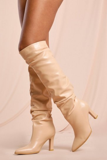 Nude Ruched Leather Look Knee Length Heeled Boot