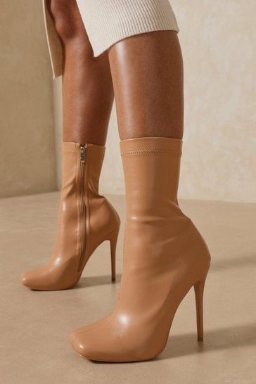 Nude Square Toe Heeled Ankle Boot