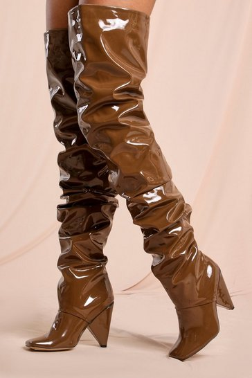 Brown Ruched Over The Knee Heeled Boot