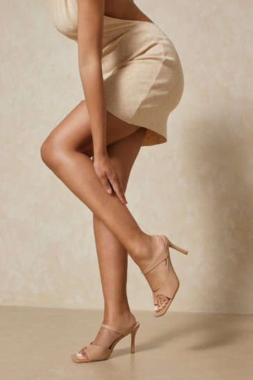 Nude Square Toe Cut Out Detail Mules