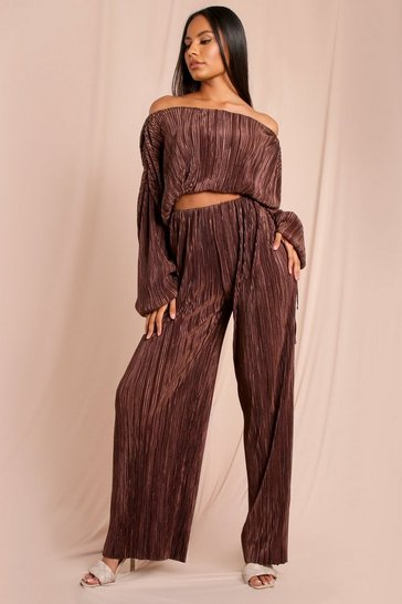 Dark brown Satin Crinkle Wide Leg Trousers