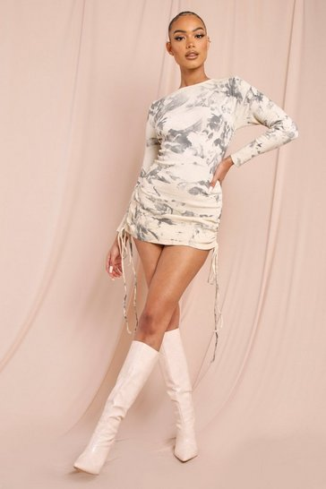 Grey Ribbed Tie Dye Long Sleeve Ruched Mini Dress