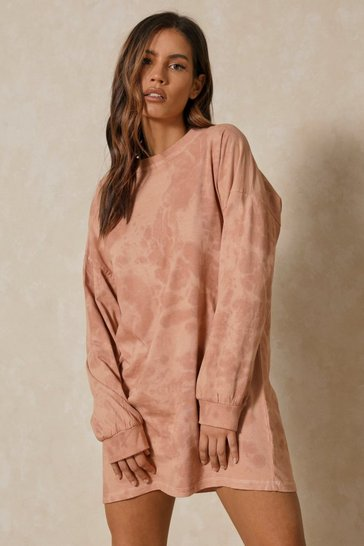 Brown Oversized Long Sleeve Tie Dye T-Shirt Dress