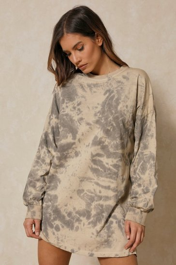 Grey Oversized Long Sleeve Tie Dye T-Shirt Dress