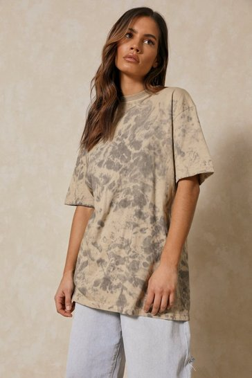 Grey Oversized Tie Dye T-Shirt