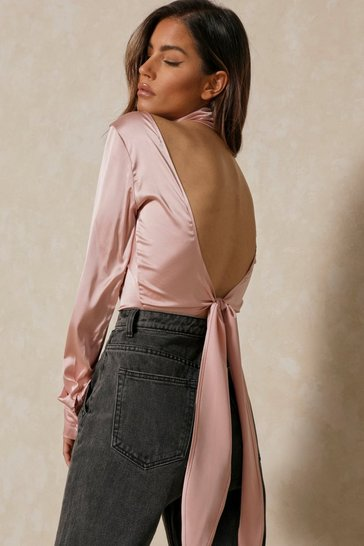 Blush Long Sleeve High Neck Crop Top