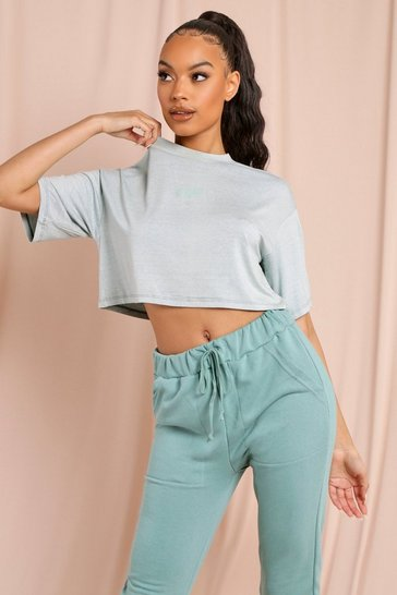 Sage MISSPAP Branded Drop Sleeve Crop T-Shirt