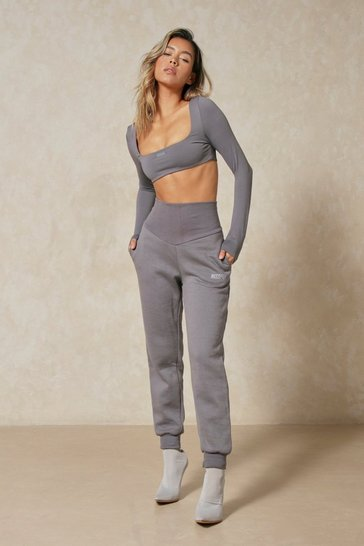 Grey Misspap Branded Deep Waistband Detail Jogger