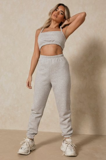 Grey Quilted Oversized Jogger