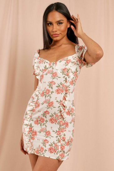 Nude Floral Frill Detail Cut Out Back Mini Dress