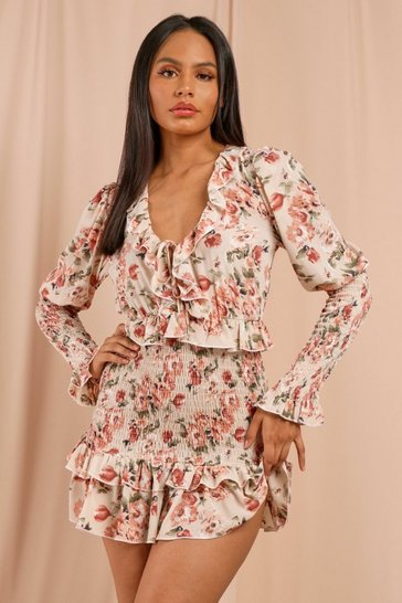 Nude Floral Frill Tie Front Shirred Mini Dress