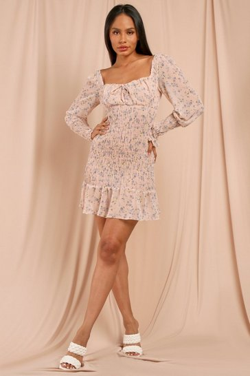 Nude Floral Shirred Milk Maid Style Mini Dress