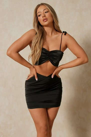 Black Satin Wrap Front Mini Skirt