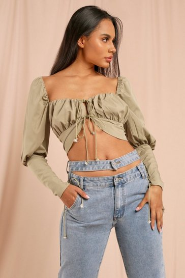 Olive Milkmaid Lace Up Crop Top