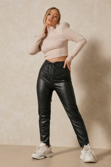 Black Corset High Waisted Faux Leather Pants
