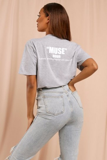 Grey Muse Slogan Oversized T-shirt