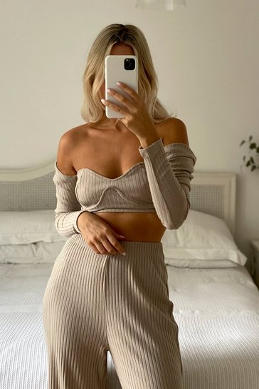 Stone Cupped Boned Long Sleeve Chunky Rib Co-ord