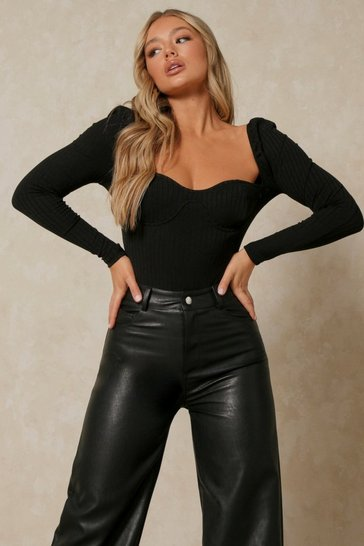Black Cupped Boned Chunky Rib Bodysuit