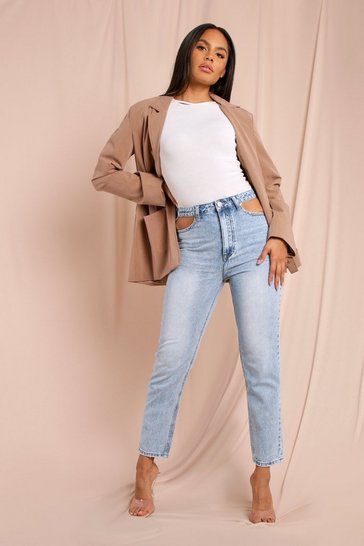 Blue Cut Out Waist Detail Jean