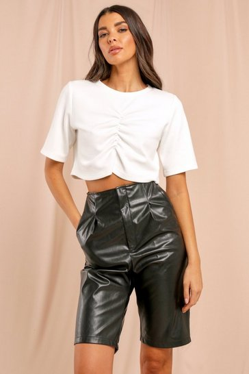White Missé Ruched Front Cropped T-Shirt