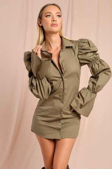 Olive Puff Sleeve Detail Shirt Dress