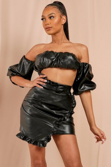 Black Leather Look Ruched Puff Sleeve Crop Top