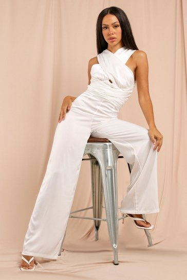 Ivory Satin Cross Front Jumpsuit