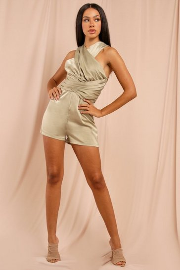 Olive Satin Cross Front Playsuit
