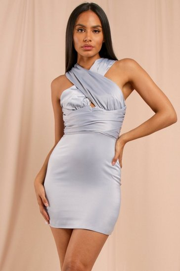 Blue Satin Cross Front Mini Dress