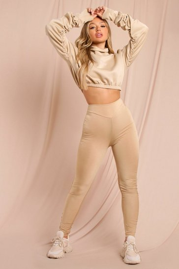 Stone Side Ruched High Waisted Leggings