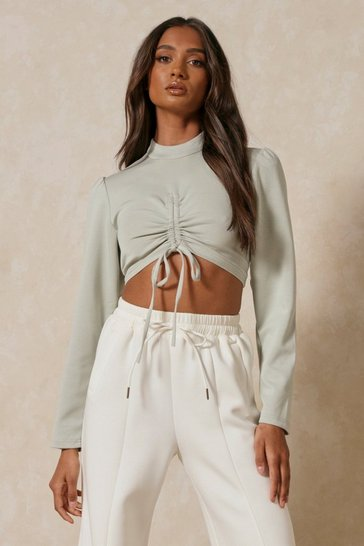 Sage Ruched Balloon Sleeve High Neck Crop Top