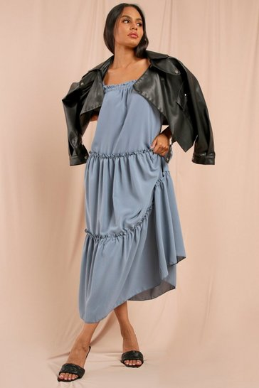 Blue Strappy Frill Detail Maxi Dress