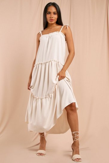 Cream Strappy Frill Detail Maxi Dress