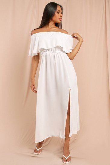 White Bardot Split Maxi Dress