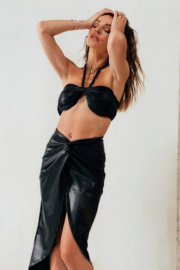 Black Misse Leather Look Knot Front Halterneck Bralet