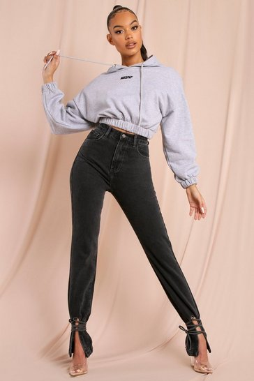 Grey High Waisted Ankle Tie Jeans