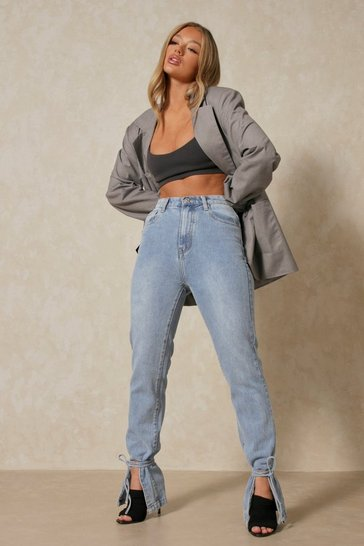 Mid wash High Waisted Ankle Tie Jeans